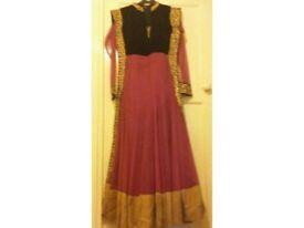 Asian/indian/Pakistani 3piece suit/dress/salwar kameez gold pink black