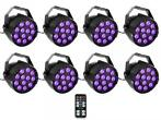 Ibiza Light 8x 36W RGB LED PAR spots 3-in-1 wash effect DMX