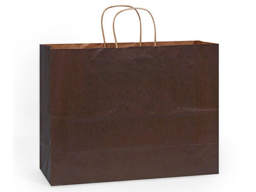 250 Paper Shopping Bags, ~Chocolate~ Kraf Paper gift Shoppers ,Vogue 16 x 6 x 12