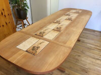 Beautiful large solid Danish teak drop leaf dining table with ceramic tile inset