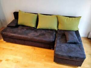 Blue sectional sofa bed with storage