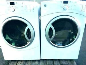 GE STACKABLE WASHER & DRYER SET FRONT LOAD H.E LIKE NEW WARRANTY