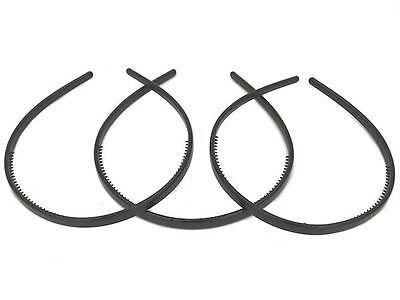 3 x Black Narrow Thin Plastic Alice Hair Bands Headband Hair Accessories UK