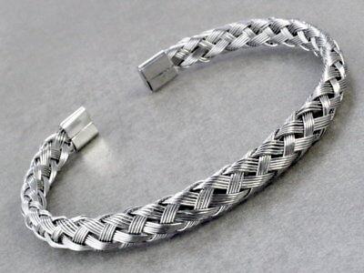 A35 Herren Armband Edelstahl Ø 7 mm Armreif geflochten Biker Rocker Bracelet Men