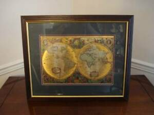 Framed Copper Etching Map - Excellent Condition