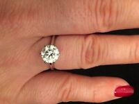 2.16 carat diamond solitaire ring cost new price £34500.