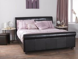 Kingsize DARK BROWN sleigh bed ( mattress and memory foam mattress topper optional)