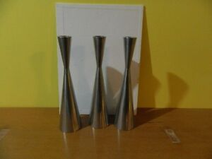 3 IKEA Silver Stainless Steel Tapered Candleholders