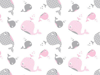 """Pink Grey White """"Whales"""" Baby Gingham Tissue Paper Gift Wrapping 20""""x30"""" Sheets"""