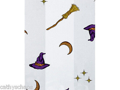 100 Halloween Witch Wizard Brooms Candy Cellophane Treat Party Cello Bags 5x11