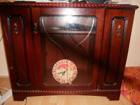 Wooden Table with Glass view Display. 3 Compartment with multi section storage.