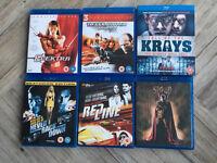 8 bluray DVDs, action, Krays, transporter triology