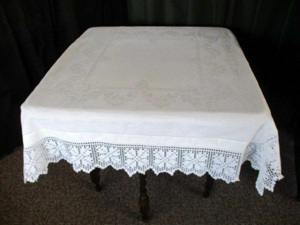 """ANTIQUE TABLECLOTH with HAND CROCHET EDGE  - 46/48""""sq."""