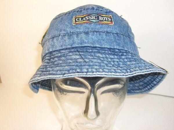 Mütze Anglermütze Strandhut Gr. 58 blau Jeans mit Aufnäher echt Vintage