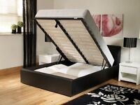 NEW DOUBLE MATTRESS AND OTTOMAN GAS LIFT UP STORAGE BED IN LEATHER - BLACK OR DARK BROWN AVAILABLE!