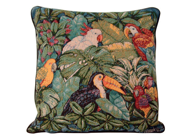 Tropical Bird Tapestry Pillow