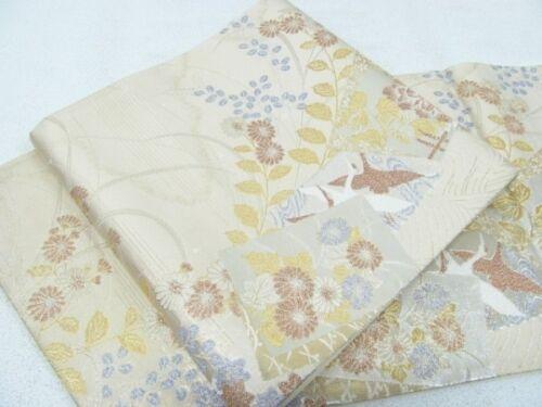Japanese Kimono SILK FUKURO OBI TSURU BIRD CRANE  (4543-1110)