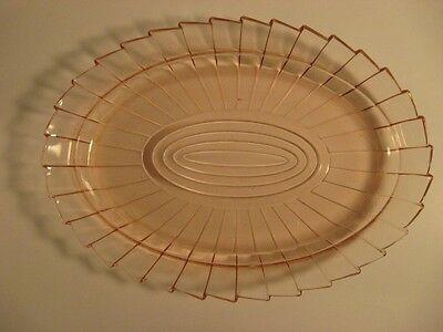 "Vintage Depression Glass~Jeannette Sierra Pinwheel Pink Platter~11"""