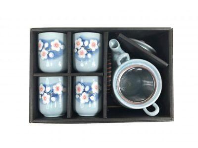 Japanese Design Blue Blossoming Sakura Tea Pot and Cups Set Japan Home Decor