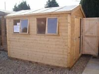 £990.00 NEW 8ftX10ft QUALITY TONGUE & GROVE APEX HEAVY DUTY WORKSHOP/SHED