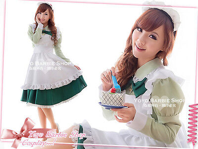 New Cosplay Emerald Green City The Wizard of OZ Nanny Maid Bow Back Apron Dress - Wizard Of Oz Emerald City Costumes