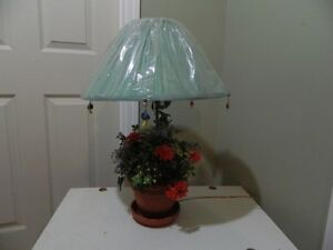 "Flowered Table Lamp (27""H) with shade still in plastic"