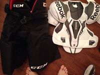 Sr large reebok hockey gear. ( uses for two games)