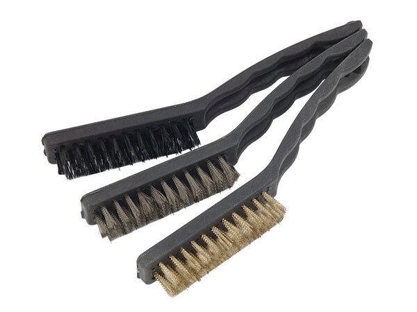 3pc WIRE BRUSH BRISTLE SCRAPER RUST PAINT CLEANING REMOVER STEEL NYLON BRASS