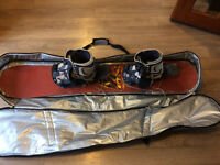 MB 160 snowboard/flow bindings and size 8.5 boots