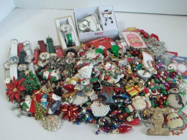 Christmas Craft Jewelry Lot Over 6 lbs Pins Watches Earrings Repurpose Holiday