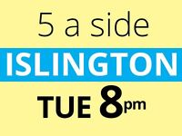 Tuesday evening friendly 5 a side football at Islington needs players. Play with us