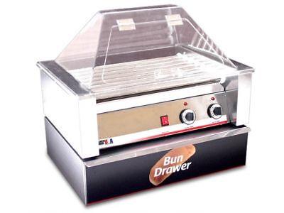 Hot Dog Roller Grill 10 Hotdogs W Sneeze Guard Bun Box
