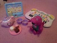 Fisher Price Tea set, Peppa Pig TV, keyboard and singing Barney