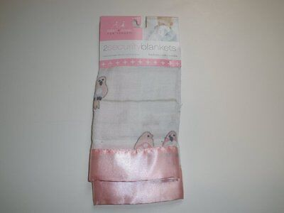 NWT Aden + Anais Pink & And White Satin Birds On A Wire Baby Security (A Baby Satin Blankets)