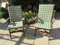 2 Wooden Garden Chairs