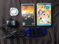 Blue PSP Mint Condition (includes games and tv shows)