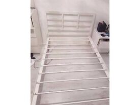 White Single metal bed frame for sale-Free delivery