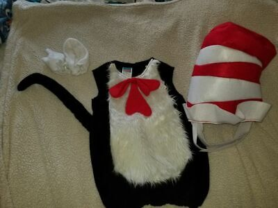 4-6 Years Pottery Barn Kids Dr. SEUSS Cat in the Hat COSTUME Halloween w/ mitts