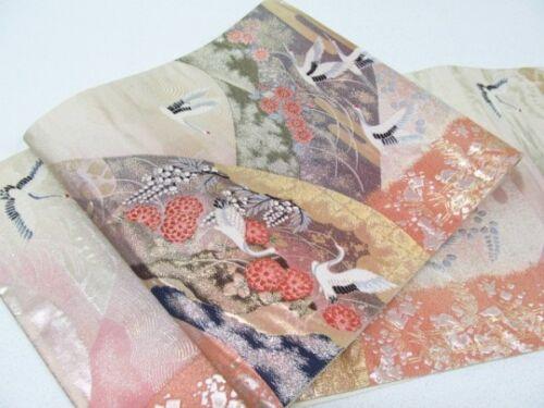 Jpanese Kimono SILK FUKURO OBI TURU BIRD CRANE (4433-1111)