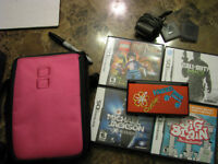Metallic Red Nintendo DS Lite w/4 games and carrying case