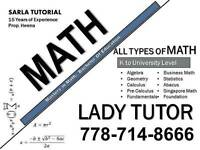 MATH LADY TUTOR FOR ALL TYPES OF MATH