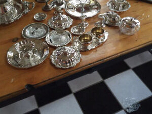 Silver plated tea sets and dishes