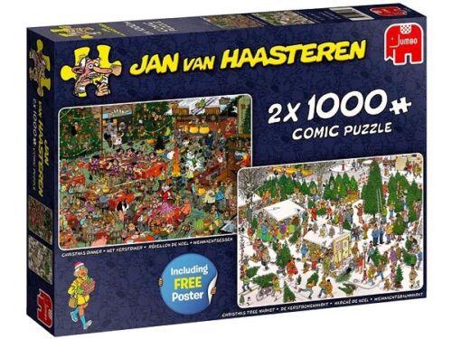 Jumbo Jan Van Haasteren 2 x 1000 Piece Jigsaw Puzzles - Christmas Gifts