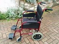 Wheelchair by Bin to - Alloy with Handbrakes - Burgundy/Dark Cherry Red