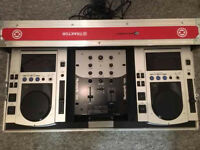 CDJs 100s pair with new pioneer flight case, Numark mixer and stand.