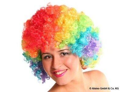 XXL BUNTE Clown-Perücke Afro-Perücke bunt Party Karneval Kostüm Fasching Disco