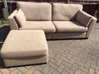 3 seater sofa with pouffe-Free delivery