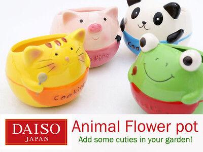 Daiso Japan Animal Ceramic Flower Pot Nursery Planter Garden Succulent Cat Frog](Animal Planters)