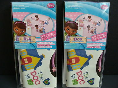 NEW Doc McStuffins Wall Decals Peel &  Stick 2 Packs Removable 54 pcs Room Decor