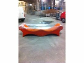 Contemporary Chaise Lounge Sofa in Burnt Orange For Sale
